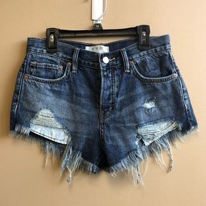 Free People Button fly distressed raw hem shorts24